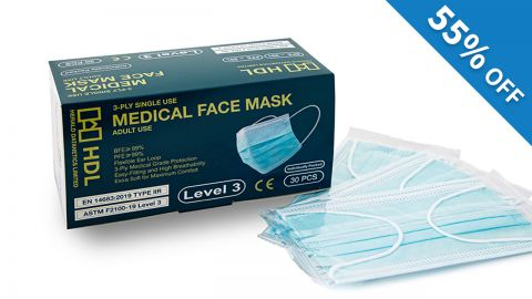 HDL Level 3 醫用口罩(30片獨立包裝) 45折優惠碼