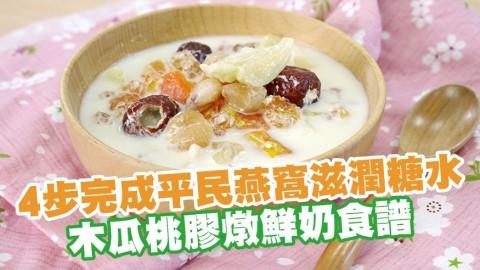 4步完成平民燕窩滋潤糖水 木瓜桃膠燉鮮奶食譜