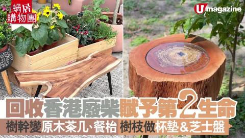 【蝸居購物團】回收香港廢柴賦予第2生命 樹幹變原木茶几、餐枱 樹枝做杯墊&芝士盤